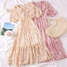 Ruffled-trim Printed Chiffon Dress