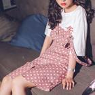 Dotted Midi Pinafore Dress