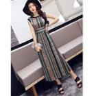 Sleeveless Side-slit Printed Midi Dress