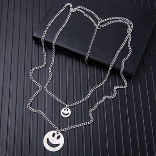 Stainless Steel Smiley Pendant Layered Necklace As Shown In Figure - One Size