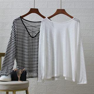 Cutout-back Stripe Long Sleeve Top