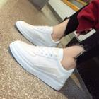 Panel Faux Leather Platform Sneakers