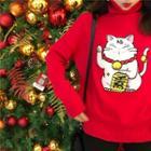 Fortune Cat Applique Turtleneck Sweater