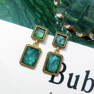 Retro Rectangle Dangle Earring 1 Pair - Green - One Size