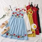 Flower-embroidered Sleeveless Dress