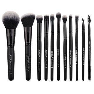 Set Of 11: Makeup Brush Set - Black - One Size
