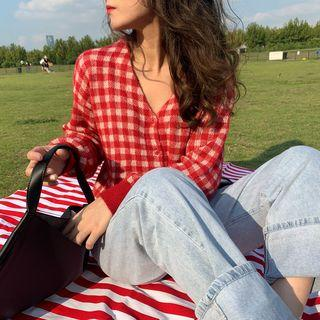 Long-sleeve Plaid Buttoned Knit Top Plaid - Red - One Size