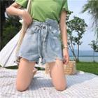 Ripped Asymmetrical Denim Shorts