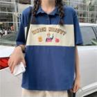 Printed Color Block Short-sleeve Polo Shirt