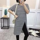 Striped Short Sleeve Slit-front T-shirt Dress