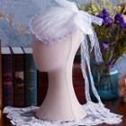 Bridal Lace Pillbox Hat/ Beads Earrings