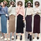 High-waist Plain Split-hem Skirt