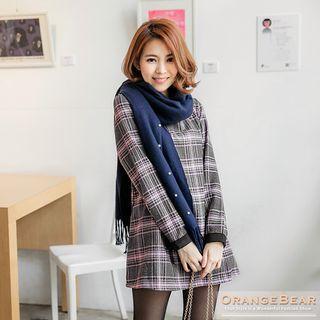 Check Woolen-like Bow-tie Longline Top