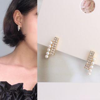 Rhinestone Faux Pearl Bar Earring