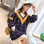 Contrast-trim Plaid Long-hem Sweater