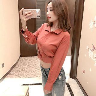 Long-sleeve Crop Top Brick Red - One Size