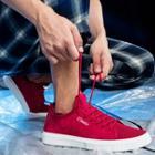 Genuine Suede Lettering Sneakers