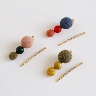 Set Of 2: Bead Hair Clip + Hair Pin