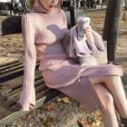 Turtleneck Midi Sweater Dress Pink - One Size