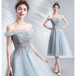 Off-shoulder Frilled Trim Embroidered Prom Dress