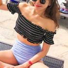 Off-shoulder Striped Tankini