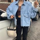 Frayed Edge Denim Jacket Blue - One Size