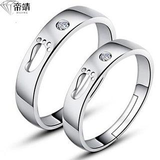 Couple Matching 925 Sterling Silver Rhinestone Foot Open Ring