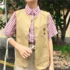 Plaid Short Sleeve Shirt / Bear Embroidered Vest