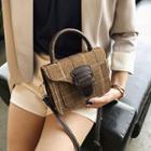 Plaid Buckled Fabric Crossbody Bag