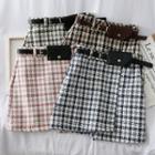 Asymmetric Woolen Mini Skirt With Belt