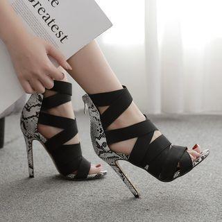 Python Print Stiletto-heel Gladiator Sandals