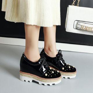 Embellished Lace-up Platform Wedge Shoes