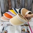 Lace Trim Straw Visor Hat