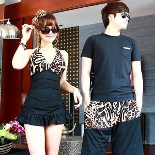 Leopard Print Ruffled Tankini / Shorts