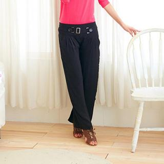 Belted Straight-cut Pants