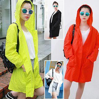 Plain Hooded Long Jacket