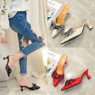 Bow Slide Pointy-toe Pumps
