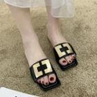 Metal Accent Square-toe Slide Sandals