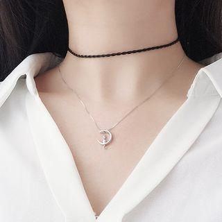 925 Sterling Silver Cat & Moon Pendant Necklace Silver - One Size