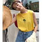 Pineapple Embroidered Sleeveless T-shirt