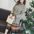 Patterned Long-sleeve Midi Shirt Dress