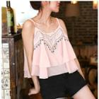Embroidered Cropped Chiffon Camisole Top