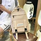 Canvas Buckled Lettering Backpack