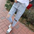Cutout-tim Washed Jeans