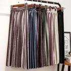Velvet A-line Midi Pleated Skirt