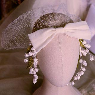 Wedding Bow-accent Mesh Headpiece Headpiece - White - One Size