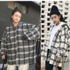 Plaid Buttoned Hooded Jacket