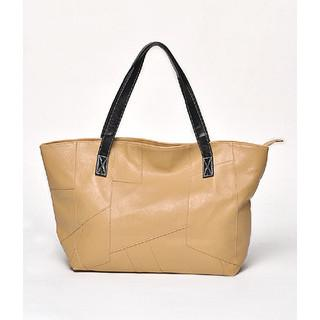 Geometric Front Panel Tote Beige - One Size