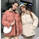 Furry Collar Padded Jacket With Bungee Cord