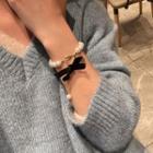 Faux Pearl Bracelet Black & White - One Size